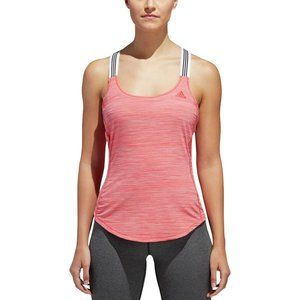 Adidas Performer 3-Stripes Tank in Real Coral